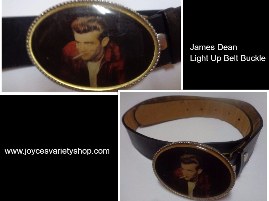James Dean LED Light Up Belt Buckle & Black Faux Leather Belt NWOT SZ 38""
