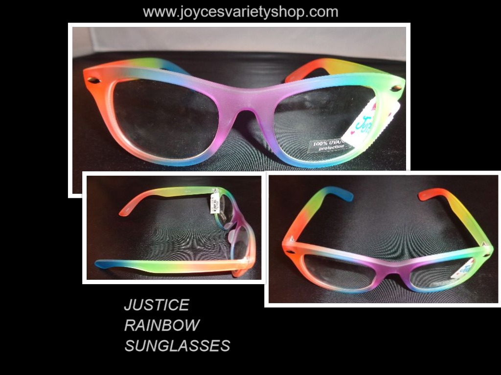 Justice Women's Sunglasses Rainbow Color NWT 100% UVA UVB Protection