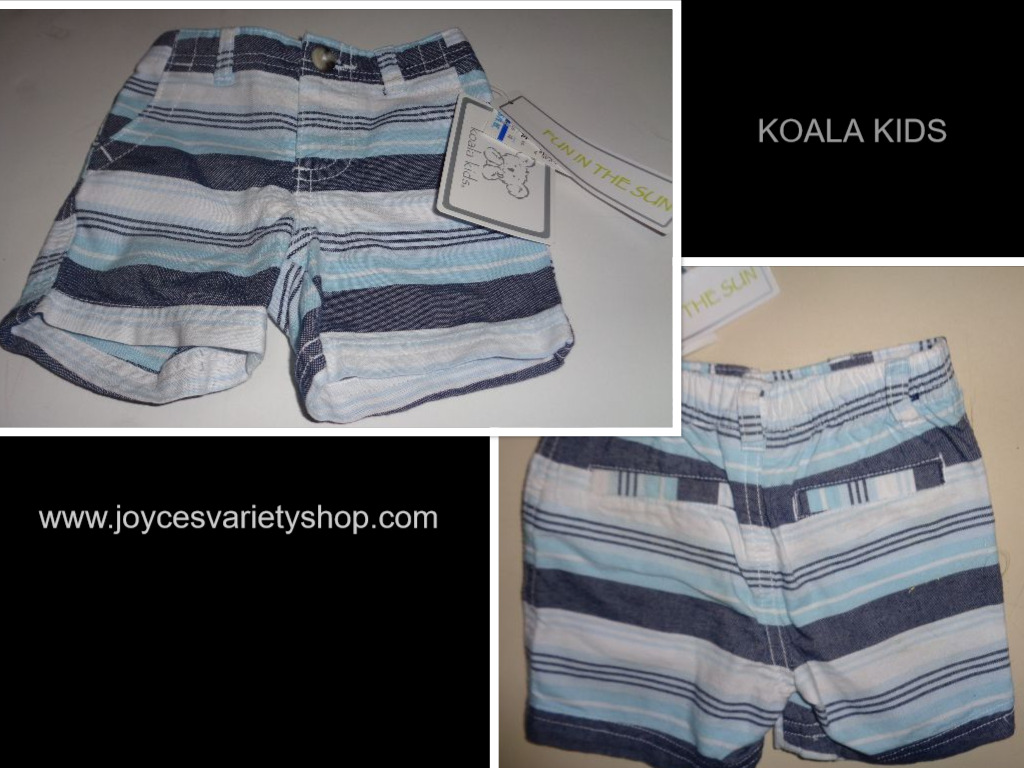 Koala Kids Fun in The Sun Infant Shorts NWT Sz 3 Months Blue Striped