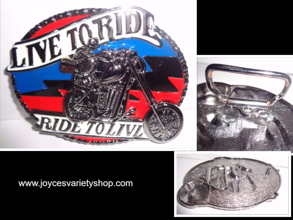 Large LIVE TO RIDE RIDE TO LIVE Pewter Belt Buckle NIP Red, White, Blue