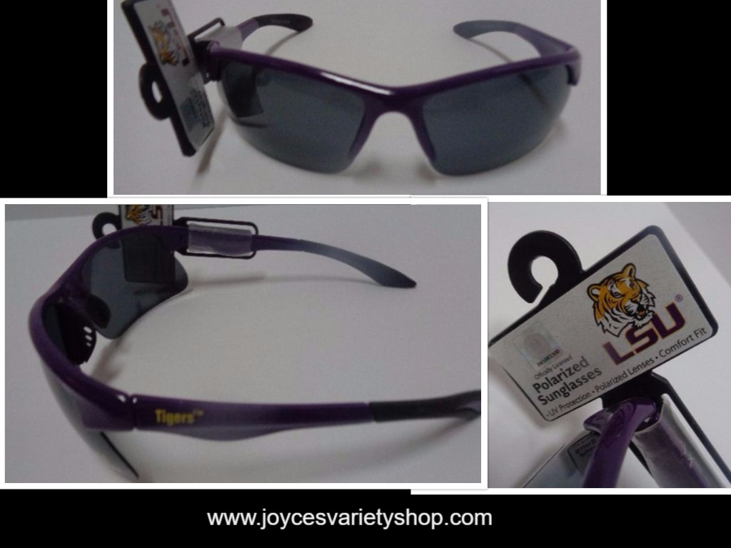 LSU University College Tigers Licensed Polarized Sunglasses NWT Purple