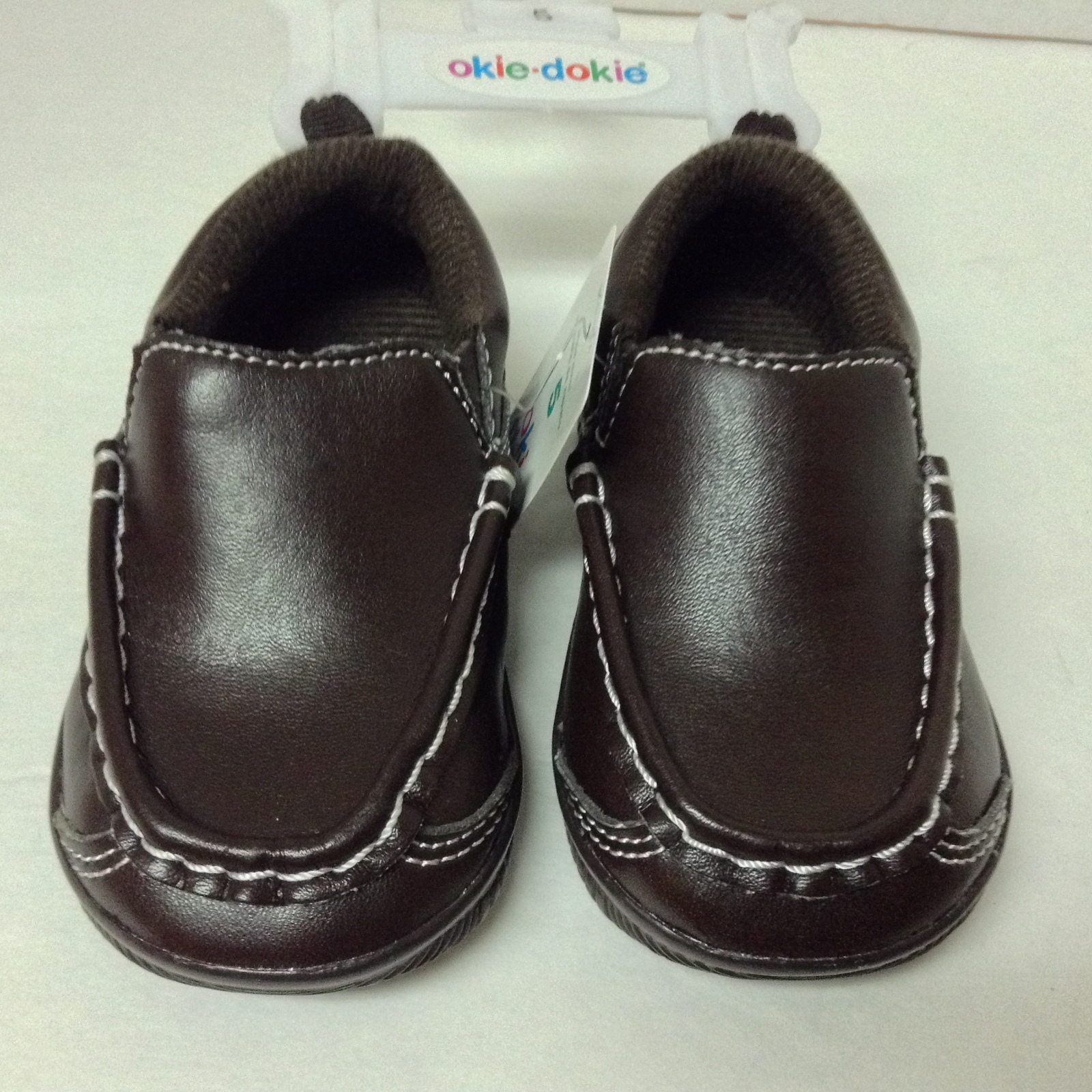 Children's Brown Faux Leather Slip On Loafers Sz 5 Medium Okie Dokie