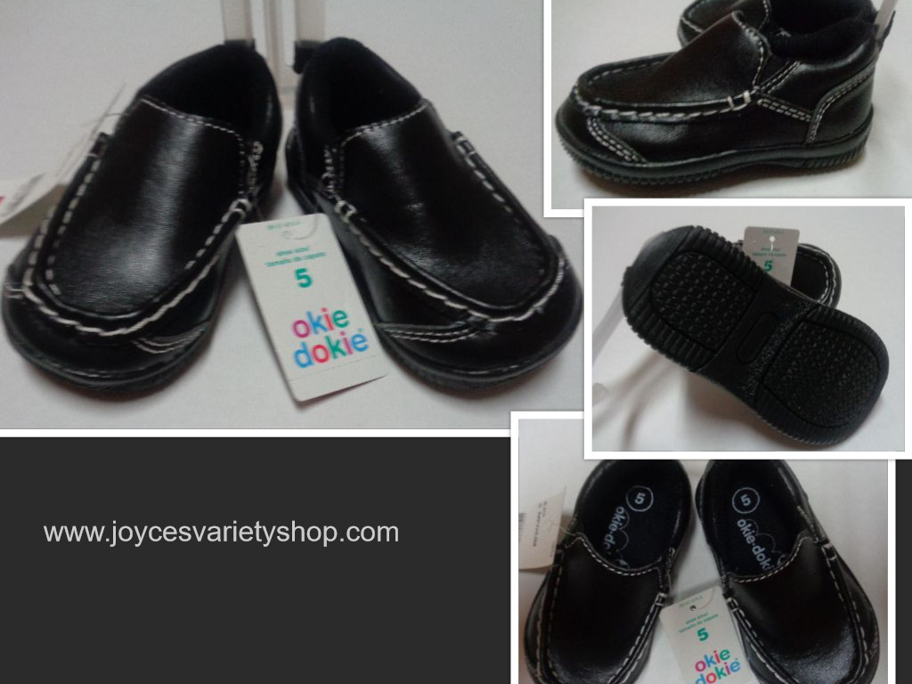 Black Faux Leather Slip On Loafer Children's Sz 5 Medium Okie Dokie