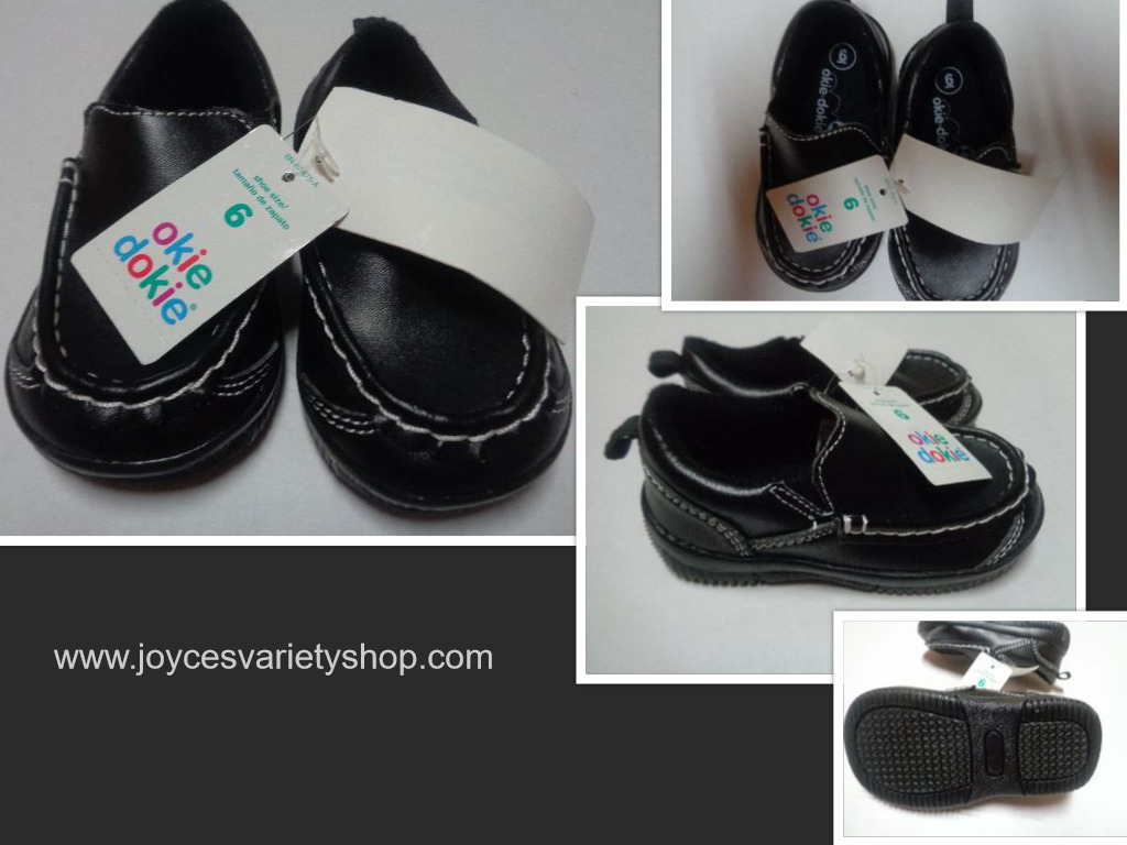 Black Faux Leather Slip On LoafersChildren's Sz 6 Medium Okie Dokie