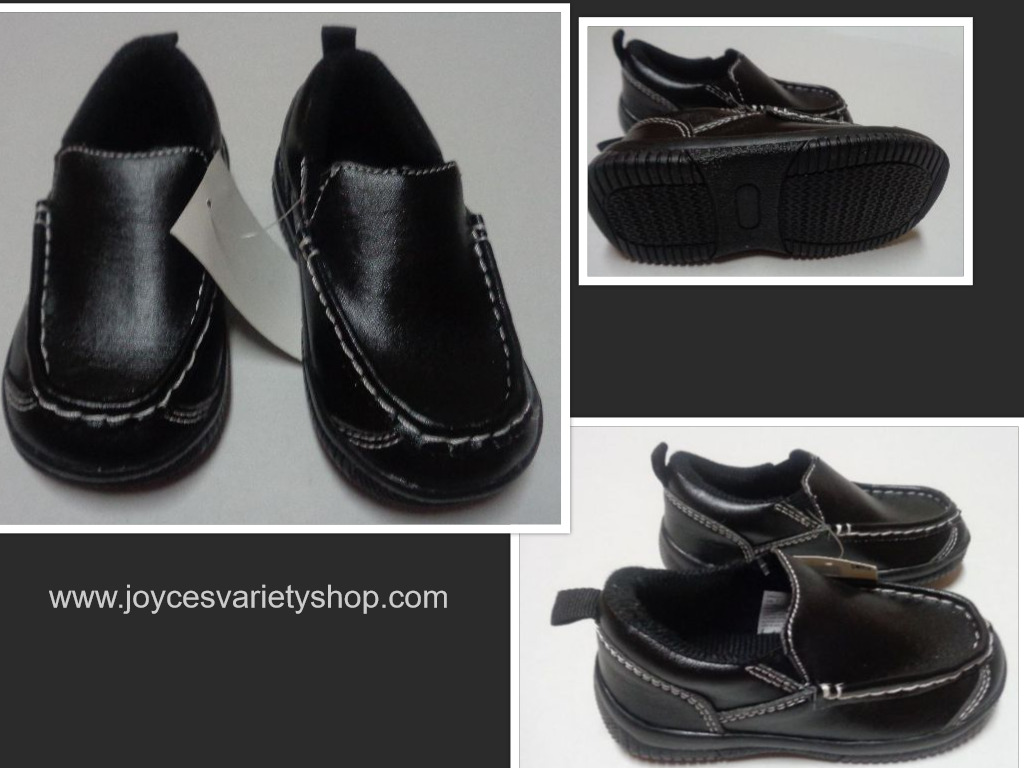 Black Faux Leather Slip On Loafers Children's Sz 7 Medium Okie Dokie