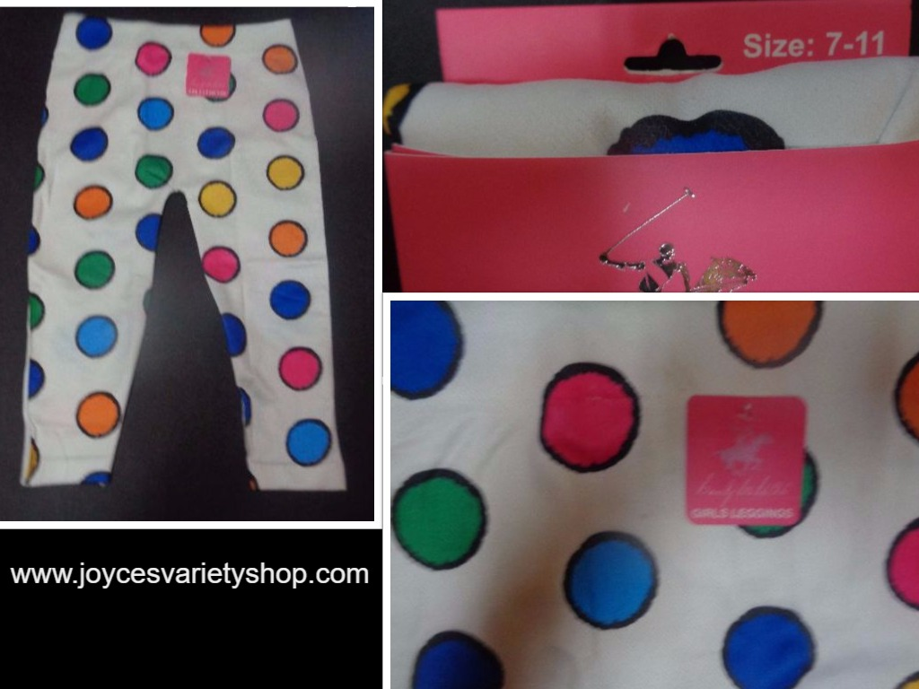 Youth Girls Leggings Polka Dot NWT Beverly Hills Sz 7-11
