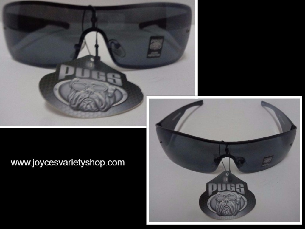 PUGSGEAR Black Sunglasses NWT Sport Shield UV400 Protection Snake Skin Pattern