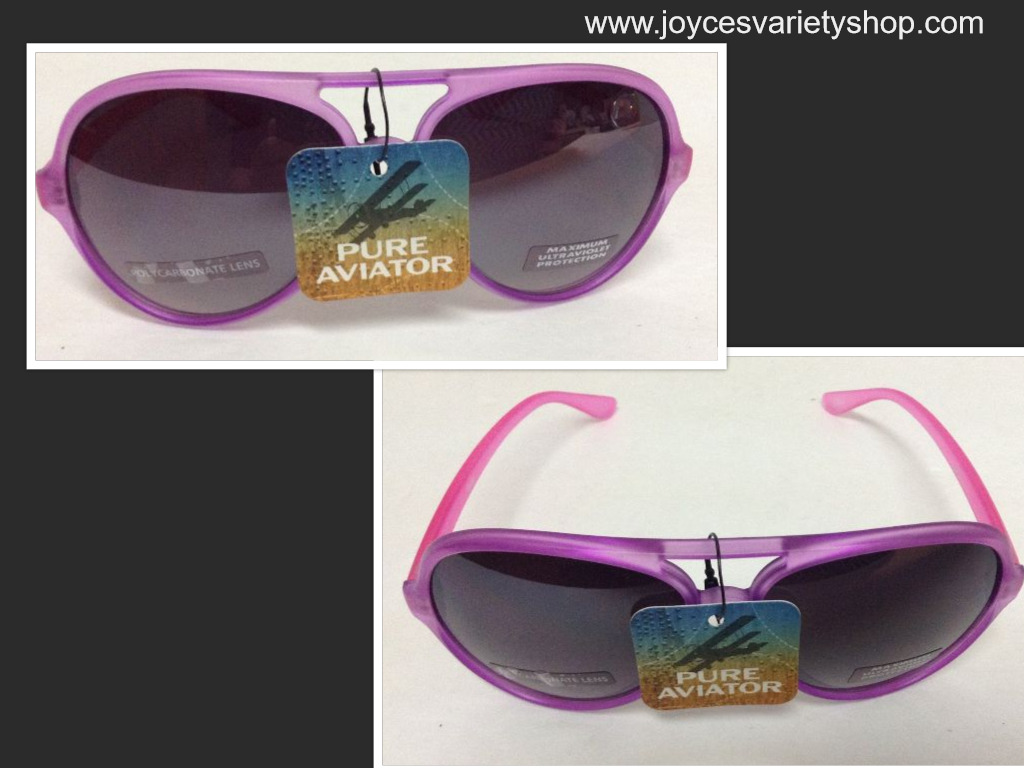 Pure Aviator Purple & Pink Frame Sunglasses Max Ultraviolet Protection