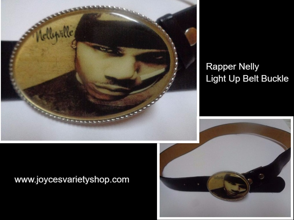 Rapper Nelly LED Light Up Belt Buckle & Black Faux Leather Belt NWOT SZ 38""
