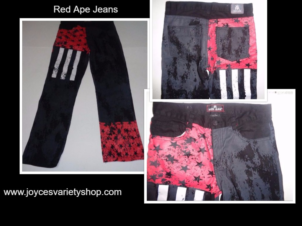 Boy's RED APE Jeans NWOT 28/27 Black Flag Stars