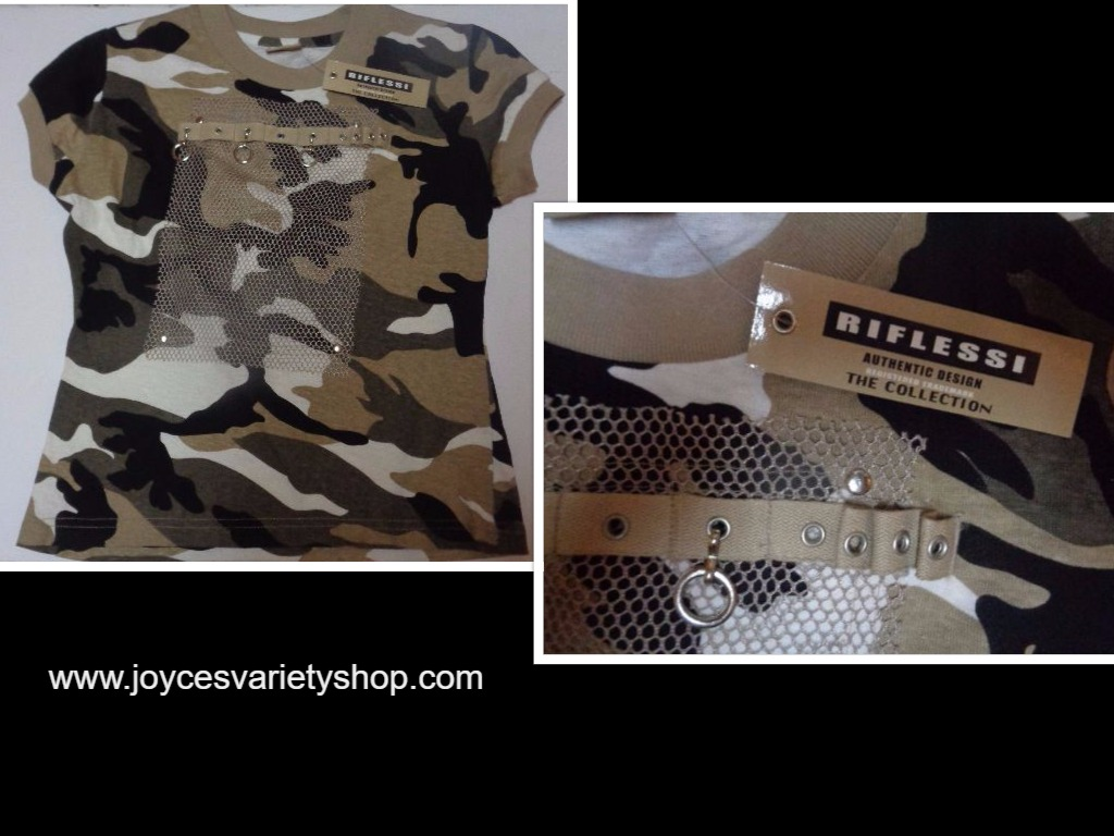 Riflessi Camouflage Khaki Youth Shirt NWT SZ Small