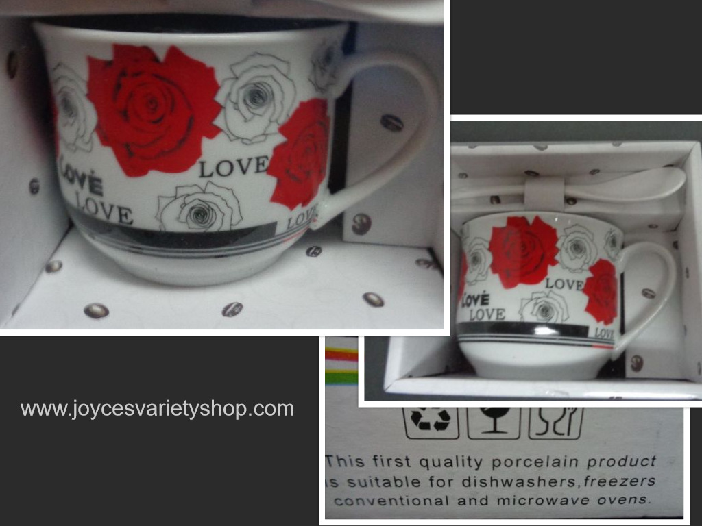 Porcelain Ceramic Coffee Cup & Stir Spoon Set White Rose Love