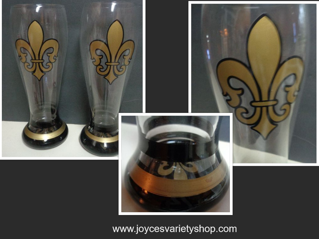 "New Orleans NFL Saints Tall Beer Glasses 9"" Saints' Logo Football Black & Gold"