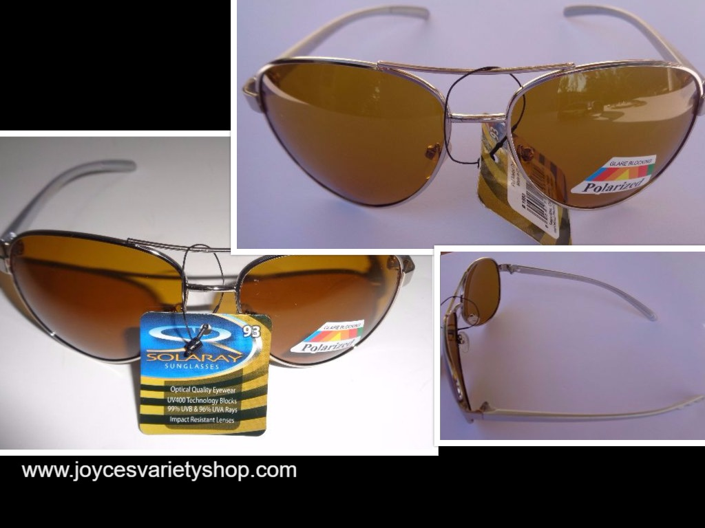 Solaray Metal Polarized Silver Frame Sunglasses NWT Gold Lens 100% UVA UVB