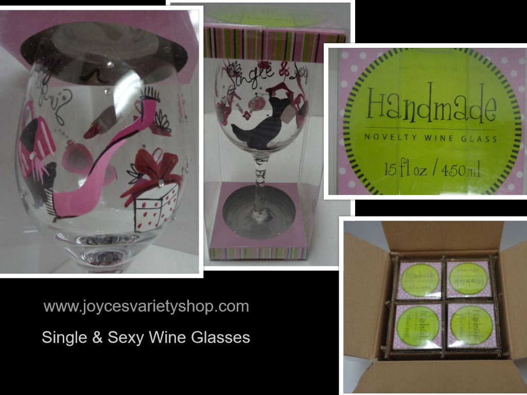 SINGLE & SEXY Hand Painted Novelty Wine Glass Lot of 4 NIB Formation Brands