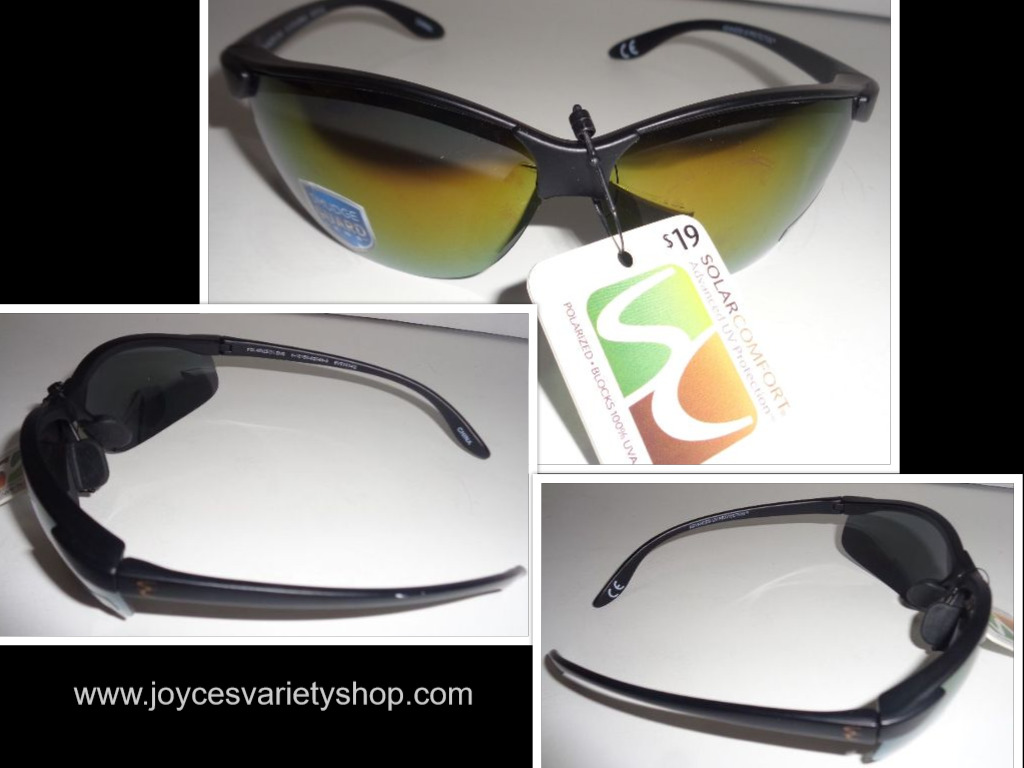 Solar Comfort Polarized Sunglasses NWT Black Advanced UV Protection Smudge Guard