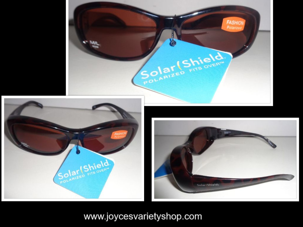 Solar Shield Sunglasses NWT Fashion Polarized Black & Brown Print Sz M/L
