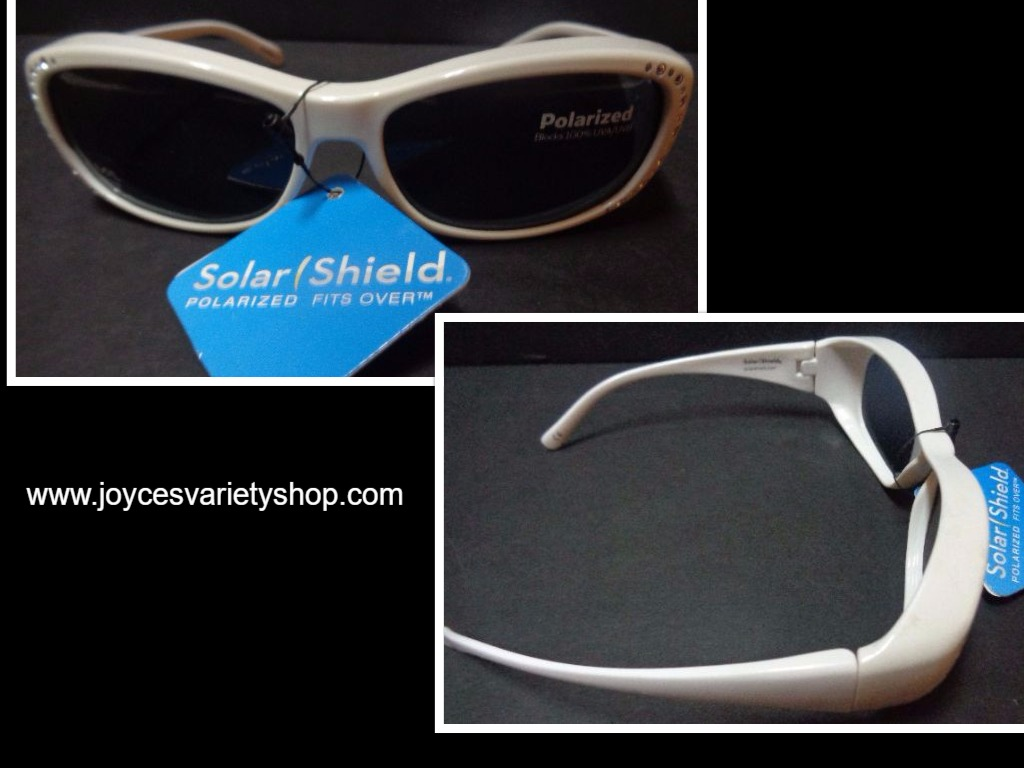 Solar Shield White Fits Over Sunglasses Rhinestone Accents NWT Polarized