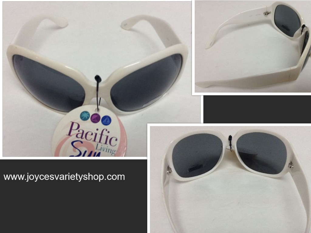 Pacific Sun White Frame Sunglasses 100% UV Protection