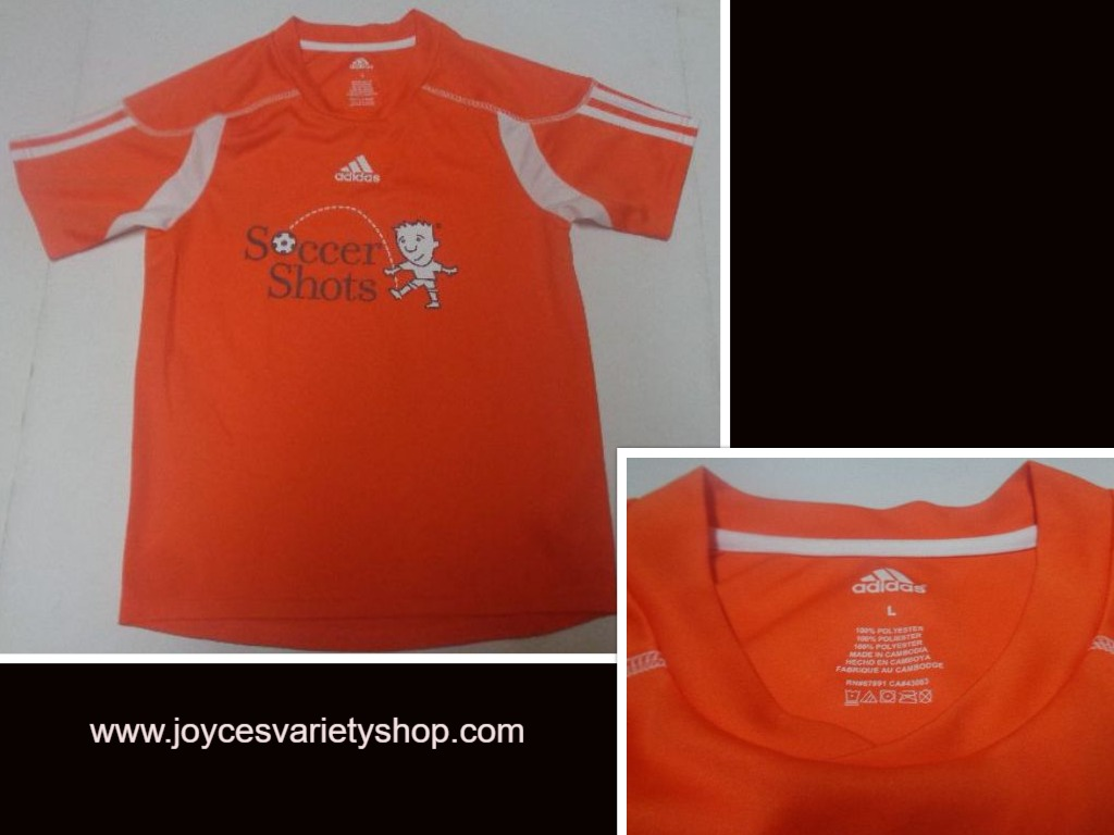 Adidas Soccer Shots Youth Large Orange Short Sleeve Shirt