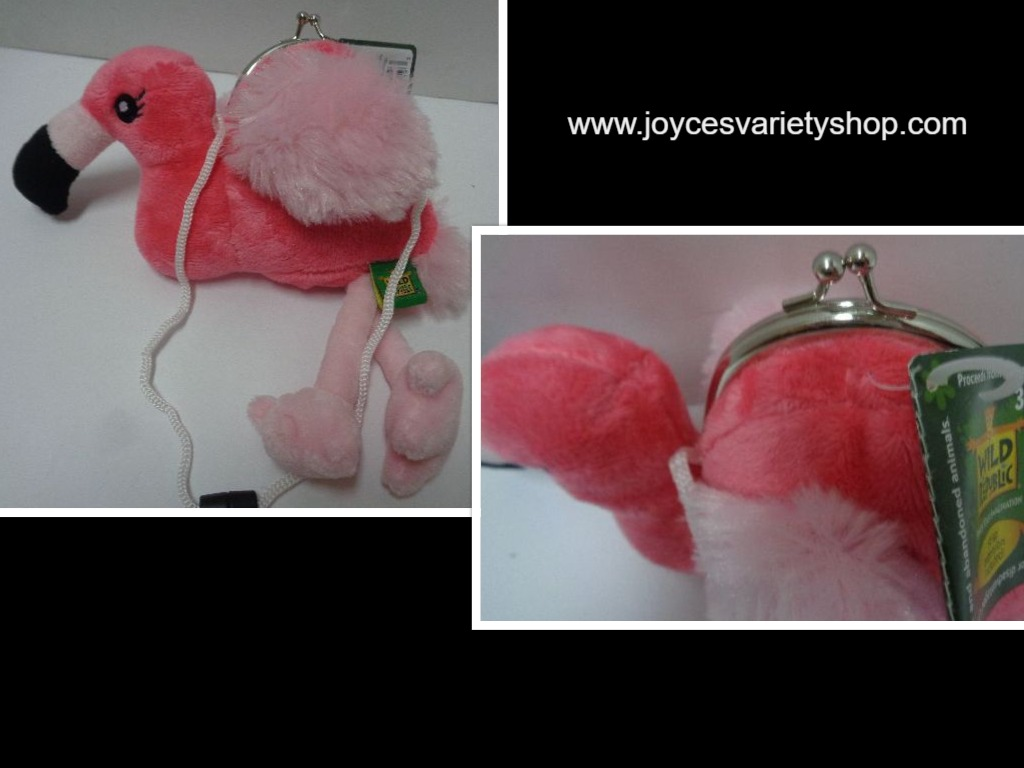 Wild Republic Plush Pink Flamingo Childrens Coin Purse