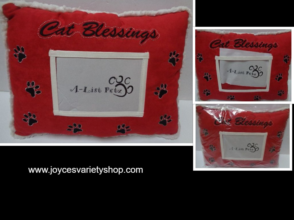 Pet Pillow With Photo Pocket CAT BLESSINGS Red NWT White Trim