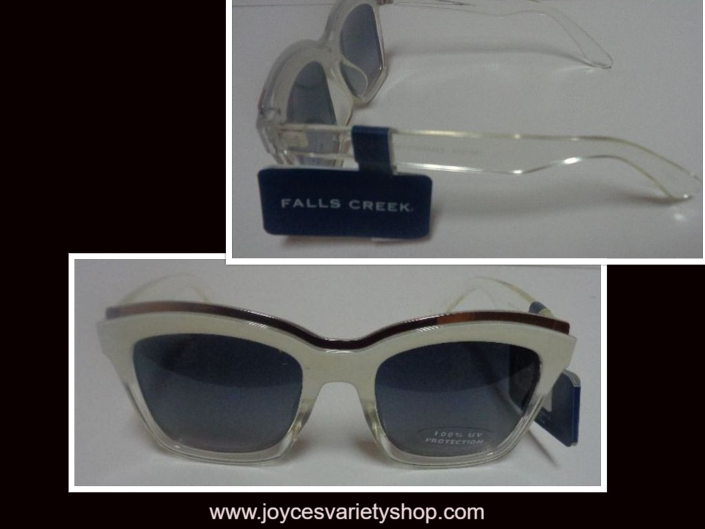 Falls Creek White Clear Sunglasses NWT 100% UV Protection